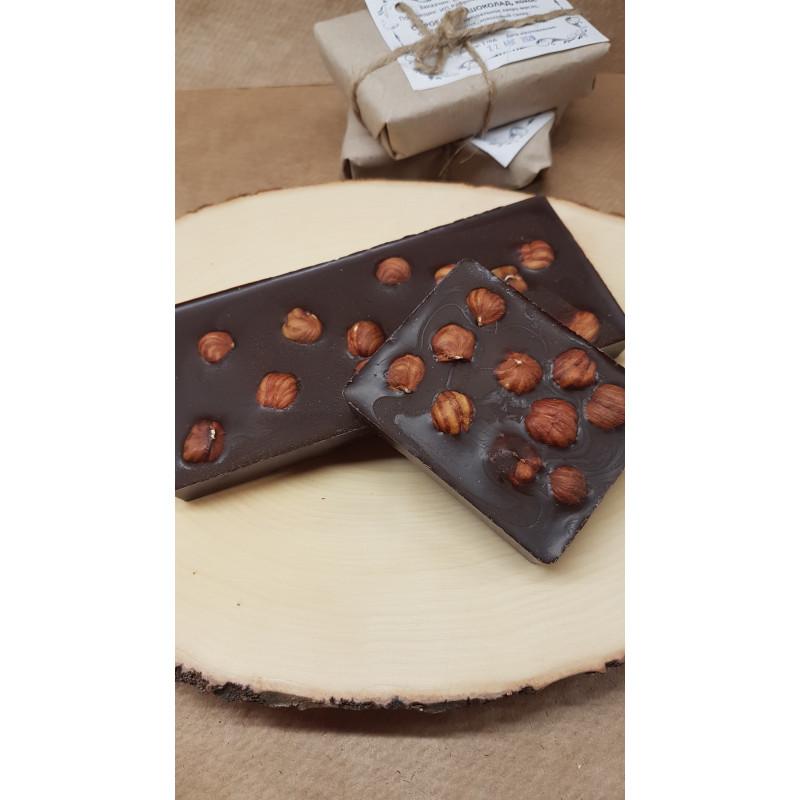 Натуральный шоколад на меду с фундуком (70% какао), на вес